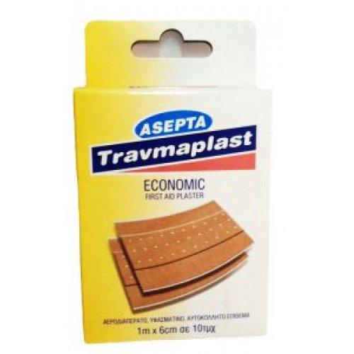 Αυτοκόλλητα Επιθέματα 1m x 6cm Asepta Travmaplast Economic (10τμχ) 0872